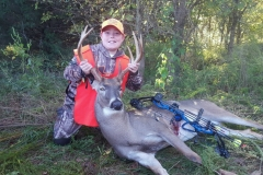 Hunter Morgan, age 11, with his first bow harvest, October 2016, Gallatin County, IL.