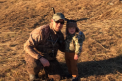 Steve Raetz and son, Charlie Raetz (age 2), on a goose hunt