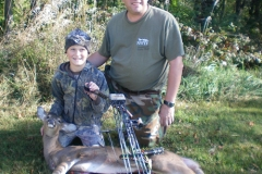 Congratulations Logan Boente, age 9, on his first bow and arrow deer harvest with dad Steve Boente.